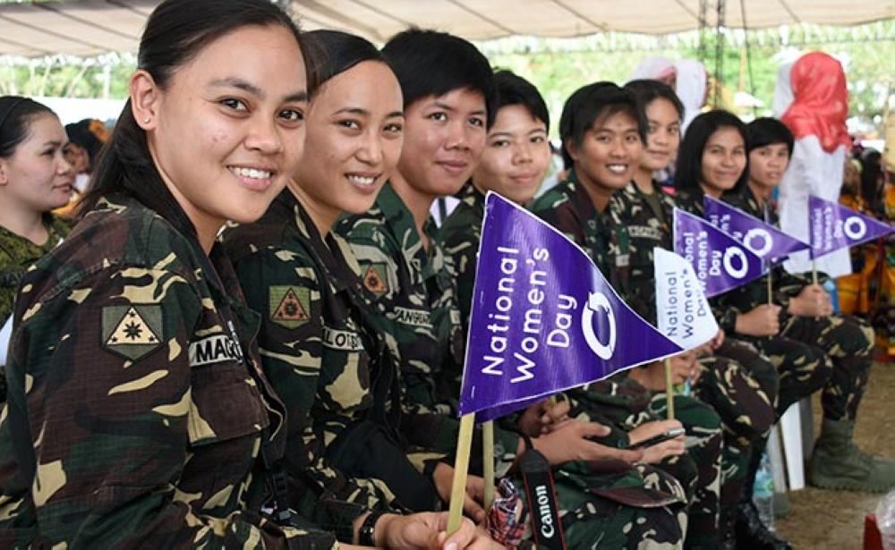DAVAO. Women soldiers attend the National Women's Day's Bulawanong Kasumaran sa Kababayen-an program at the Compostela Valley Capitol grounds, Cabidianan, Nabunturan, on March 8, 2018. (Mark Perandos)