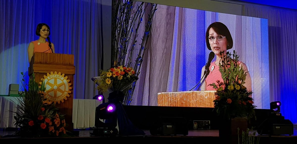 BACOLOD. Bataan Representative Geraldine Roman speaks at the Rotary International District Conference Friday, March 9, at L'Fisher Hotel in Bacolod City. (Carla N. Cañet Photo)