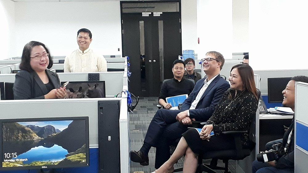 BACOLOD. BNEFIT executive director Jocelle Batapa-Sigue (left) speaks during the inauguration rites for the site expansion of Ubiquity Global Services at the Negros First Cyber Center in Bacolod City Monday. (Erwin P. Nicavera Photo)