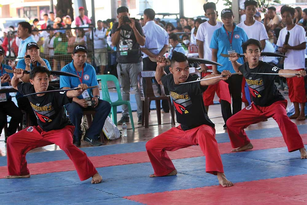 BAGUIO. Baguio City's arnis squad performs their routine in anyo, during the CARAA meet held in February. With the higher cash incentives for athletes seeing action in the Palarong Pambansa later in April, Cordillera officials remain optimistic of an improved finish. (Milo Brioso)