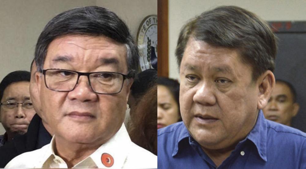 Payts gyud. Si Justice Secretary Vitaliano Aguirre (wala) nipasangil ni Cebu City Mayor Tomas Osmeña (tuo) nga drug protector. Tubag ni Osmeña: