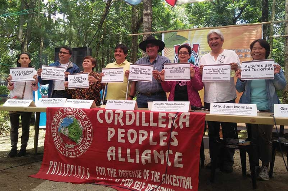 BAGUIO. Cordillera leaders tagged as terrorists in the petition filed by the Philippine Government through the Department of Justice denounce the legal basis of their inclusion during a press conference in Baguio City last March 31. (Lauren Alimondo)