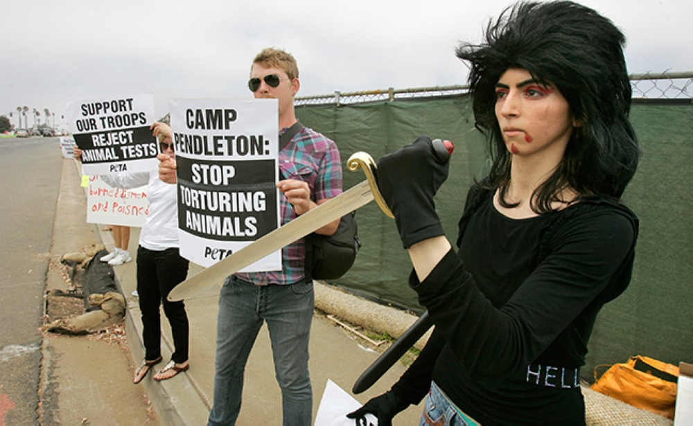 CALIFORNIA. This Aug. 12, 2009, photo shows Nasim Aghdam, right, as she joins members of People for the Ethical for Animals, PETA, protesting at the main gate of Marine Corps base Camp Pendleton in Oceanside, Calif., against the Marine's killings of pigs in a military exercise. (AP)