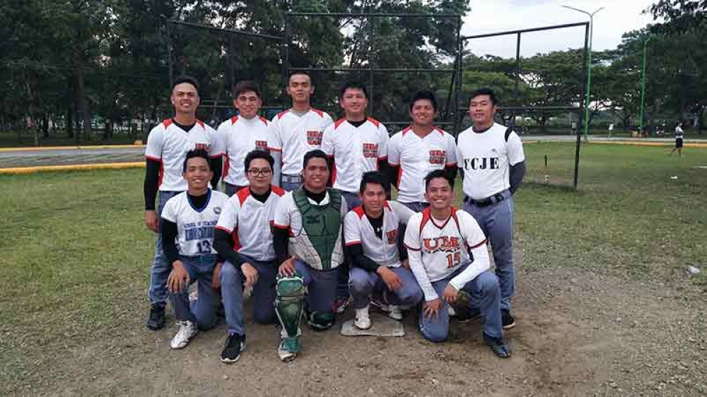 TRIUMPHANT. The Davao City men's baseball team in a pose after beating Davao del Norte in the Prisaa-Davao Regional Meet that closed in Tagum City Wednesday evening. (Contributed photo)