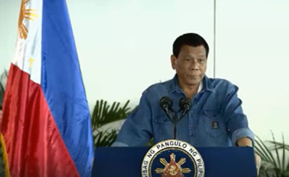 DAVAO. President Rodrigo Duterte delivers a speech before departing from Davao International Airport for Hainan, China on April 9, 2018. (Video grab from PCOO)