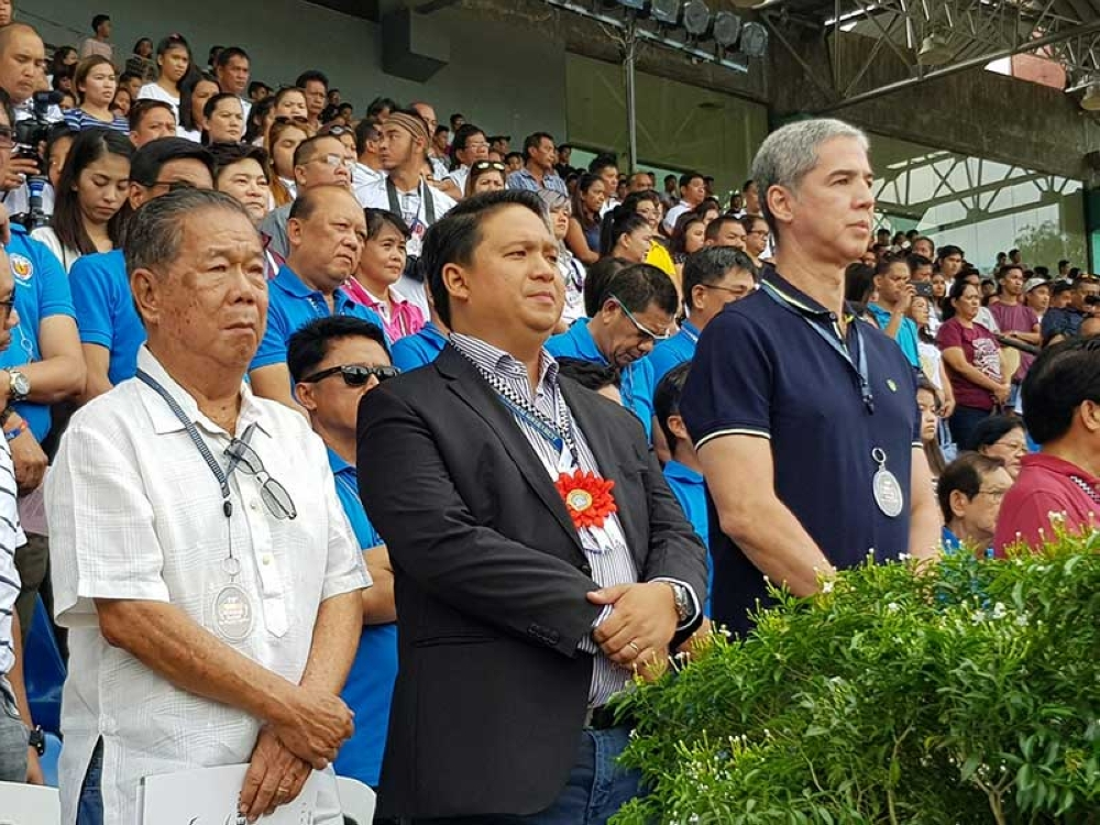 BACOLOD. From left: Negros Occidental Governor Alfredo Marañon Jr., DILG Assistant Secretary for External and Legislative Affairs Ricojudge Janvier Echiverri, and Vice Governor Eugenio Jose Lacson lead the opening rites of 25th Panaad sa Negros Festival Saturday at Panaad Park and Stadium in Bacolod City. (Carla N. Cañet)