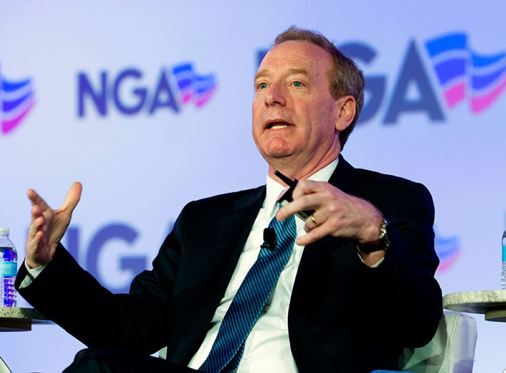 USA. In this February 25, 2018, file photo, Microsoft President Brad Smith speaks during the panel Economic Development at the National Governor Association 2018 winter meeting in Washington. (AP)