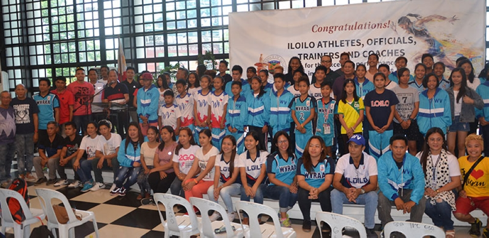 ILOILO. Governor Arthur Defensor, Sr. and Provincial Administrator Raul Banias together with Dr. Raymundo Lapating of the Center for Sports and Physical Fitness (CSPF) gave a welcome reception to the athletes, officials, trainers and coaches from Iloilo province who participated in the recently concluded Palarong Pambasa 2018 at the Casa Real on Friday, April 27, 2018. The Iloilo athletes gathered a total of 105 medals -- 40 gold, 38 silver, 27 bronze, and broke the records in javelin throw, high jump secondary girls, 4 x 100 meter relay secondary girls and 4 x 50 meter swimming. (Contributed Photo)