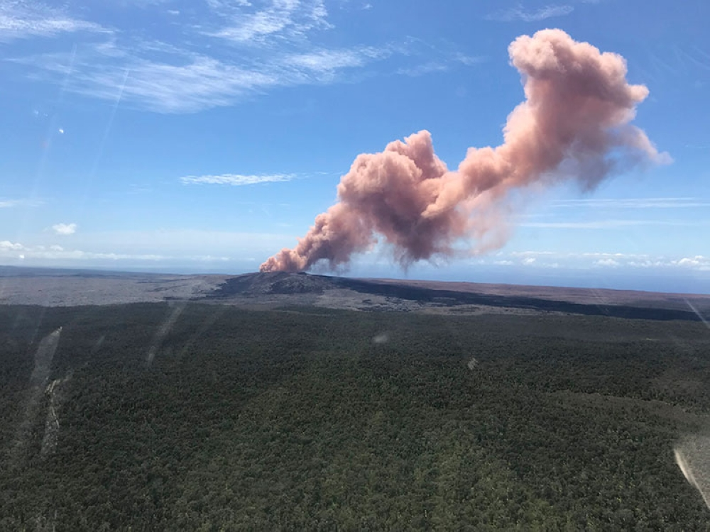 HAWAII. In this photo provided by the US Geological Survey, red ash rises from the Puu Oo vent on Hawaii's Kilauea Volcano after a magnitude-5.0 earthquake struck the Big Island, Thursday, May 3, 2018 in Hawaii Volcanoes National Park. (AP)