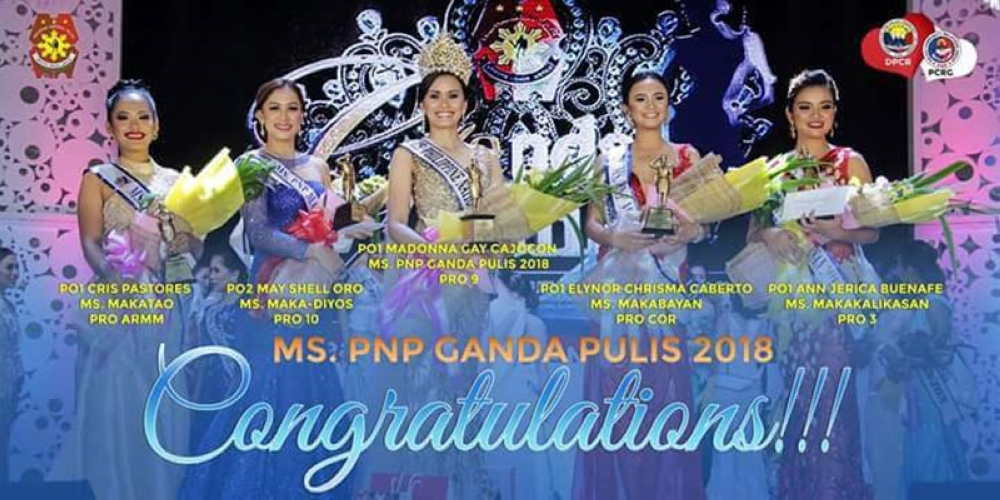 Police Officer 2 (PO2) May Shell Oro crowned as the Miss PNP Maka-Diyos 2018, the equivalent to 1st runner-up in customary beauty contests, during the Miss PNP Ganda Pulis 2018 held at the police headquarters in Quezon City, last April 23. (Contributed photo)