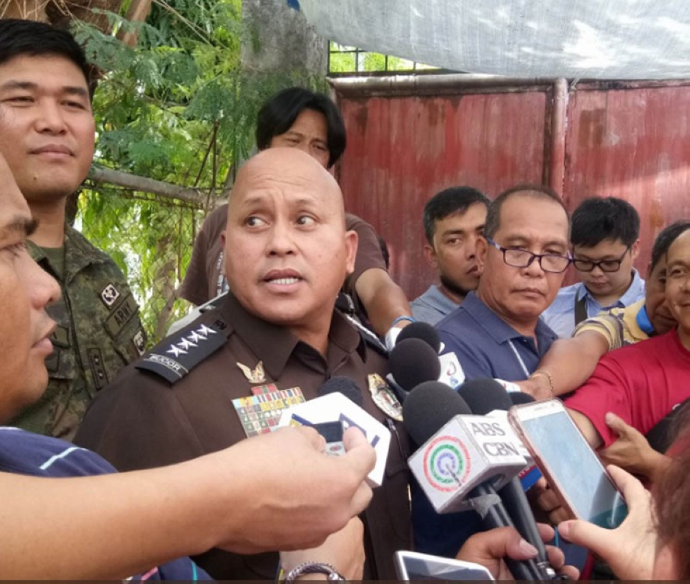 MANILA. Bureau of Corrections chief Ronald dela Rosa is interviewed during his visit to the detention cell holding high-profile inmates in Camp Aguinaldo on Wednesday, May 9, 2018. (Photo grabbed from PTV-4 Twitter)