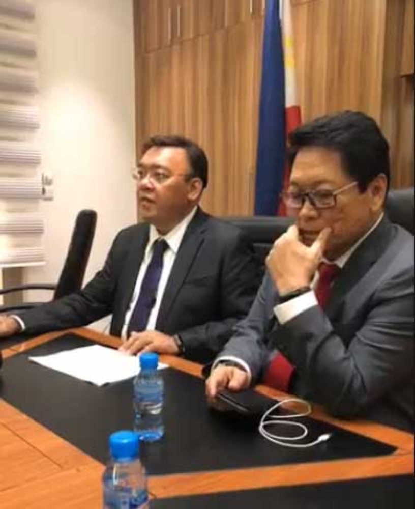 KUWAIT. Presidential Spokesperson Harry Roque Jr. and Labor Secretary Silvestre Bello III give a press briefing after their meeting with Kuwaiti officials Wednesday, May 9, 2018. (Photo grabbed from video on Harry Roque's Facebook)