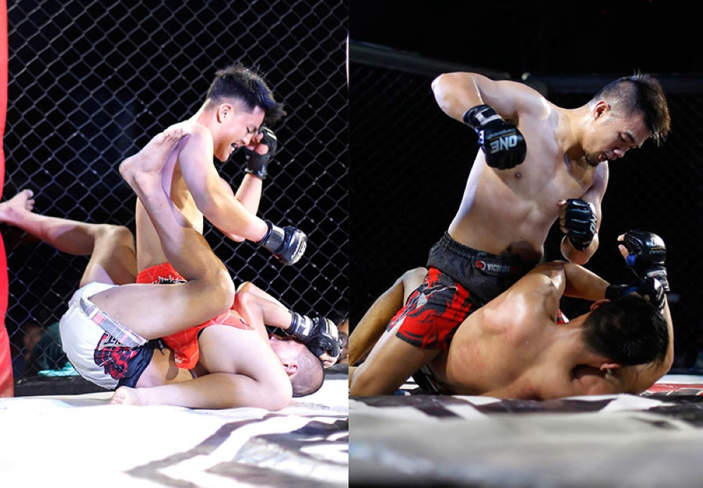 BENGUET. Jhan Lou Mark Sangiao, who made his MMA pro-am debut unleashed a series of strikes on Danilo Dangalan for a technical knockout win while Jon Chris Corton also annihilated Jestoni Lim for a second round TKO in the main event of Team Lakay Championships 3 held in Kapangan, Benguet on May 5. (Premalyn Malado/BSU DevComm)