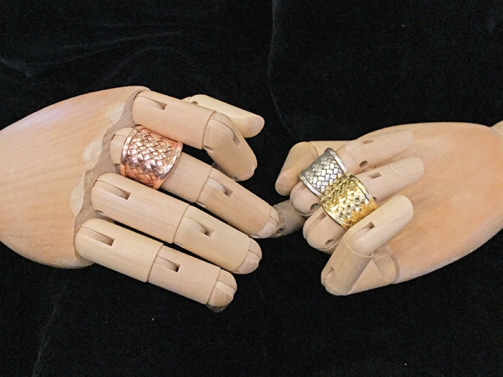 925 silver rings in three tones- silver and electroplated in Rose Gold and Yellow Gold.
