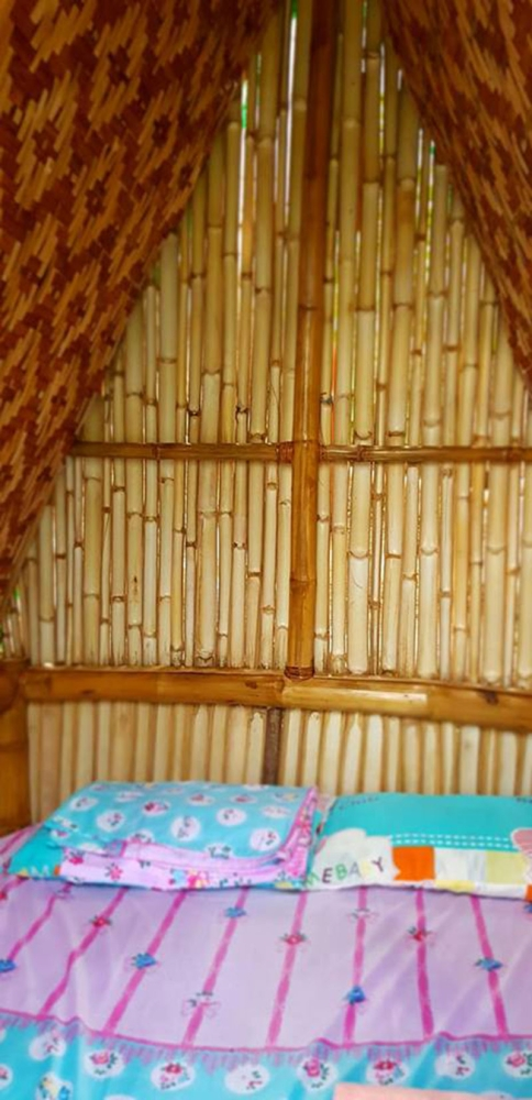 The interior of the bamboo house