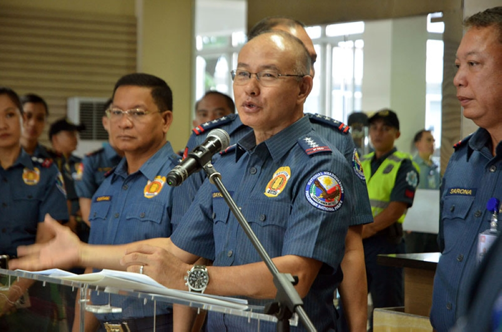 MANILA. PNP chief Oscar Albayalde briefs media on suspected election-related violent incidents on May 14, 2018. (Alfonso Padilla/SunStar Philippines)