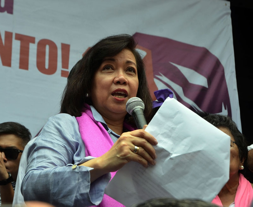 MANILA. In this photo taken on May 11, 2018, ousted Chief Justice Maria Lourdes Sereno addresses her supporters shortly after the Supreme Court granted the quo warranto petition to invalidate her appointment in 2012. (Alfonso Padilla/SunStar Philippines)