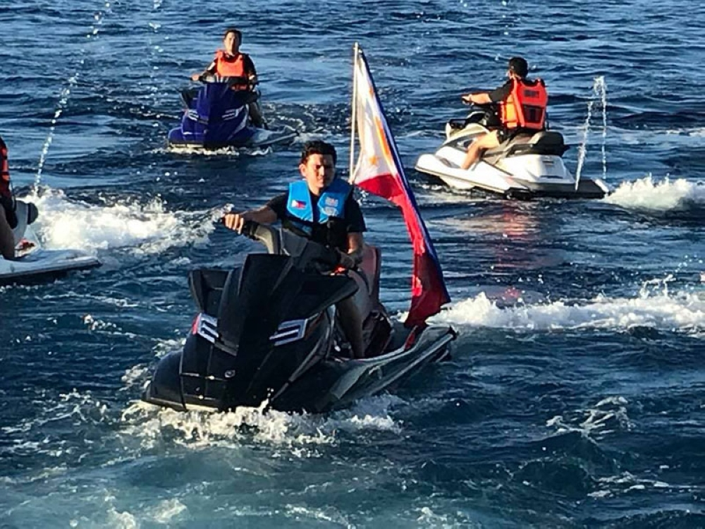 CASIGURAN SOUND. President Rodrigo R. Duterte did not ride a jet ski during his trip to the Philippine Rise. He was instead represented by youngest son Sebastian or Baste. Here, Baste rides the jet ski in Casiguran Sound on May 15, 2018. (Generose Tecson)