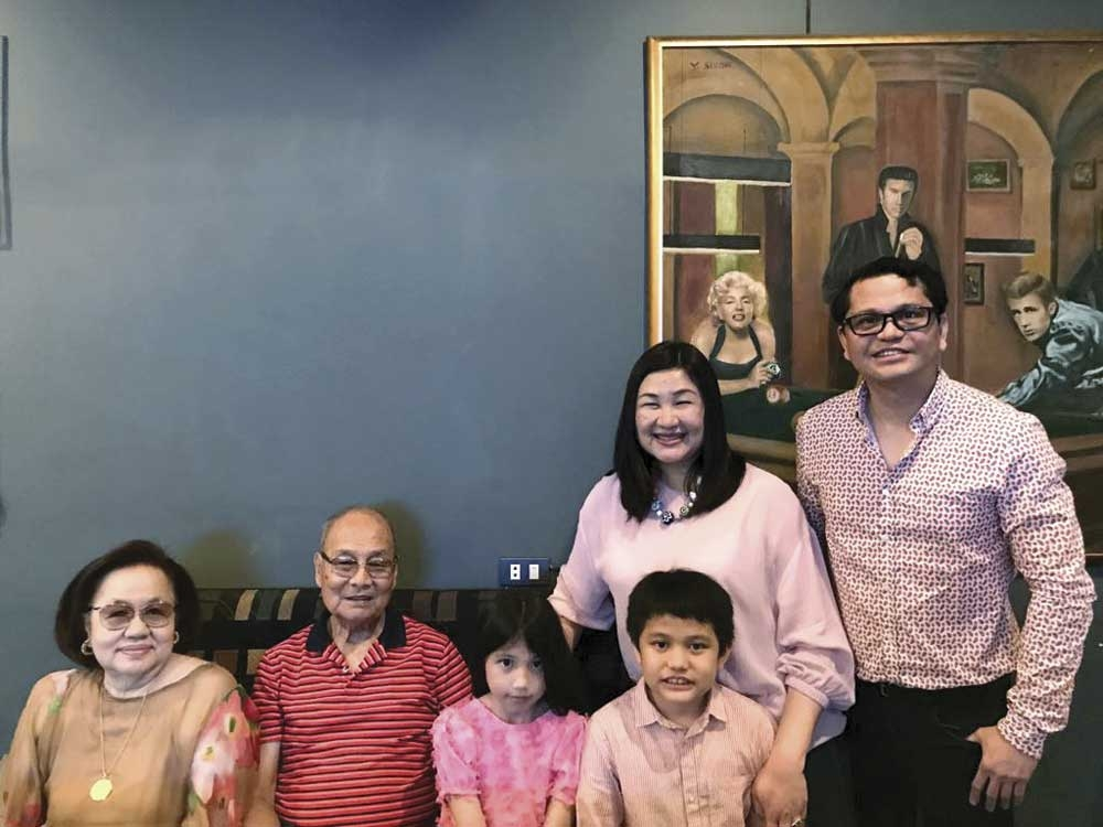 Golden boy. Dr. Vicente Avanzado (standing right) with wife Grace. Seated are parents-in-law Gingging and Nestor Morelos and children Vianna and Vincent.