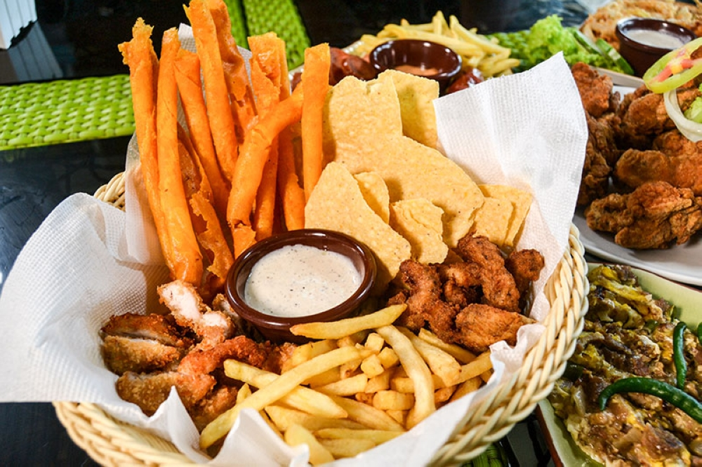 Platter 1 - fries, chips, chicken tenders, and cheese sticks with garlic mayo