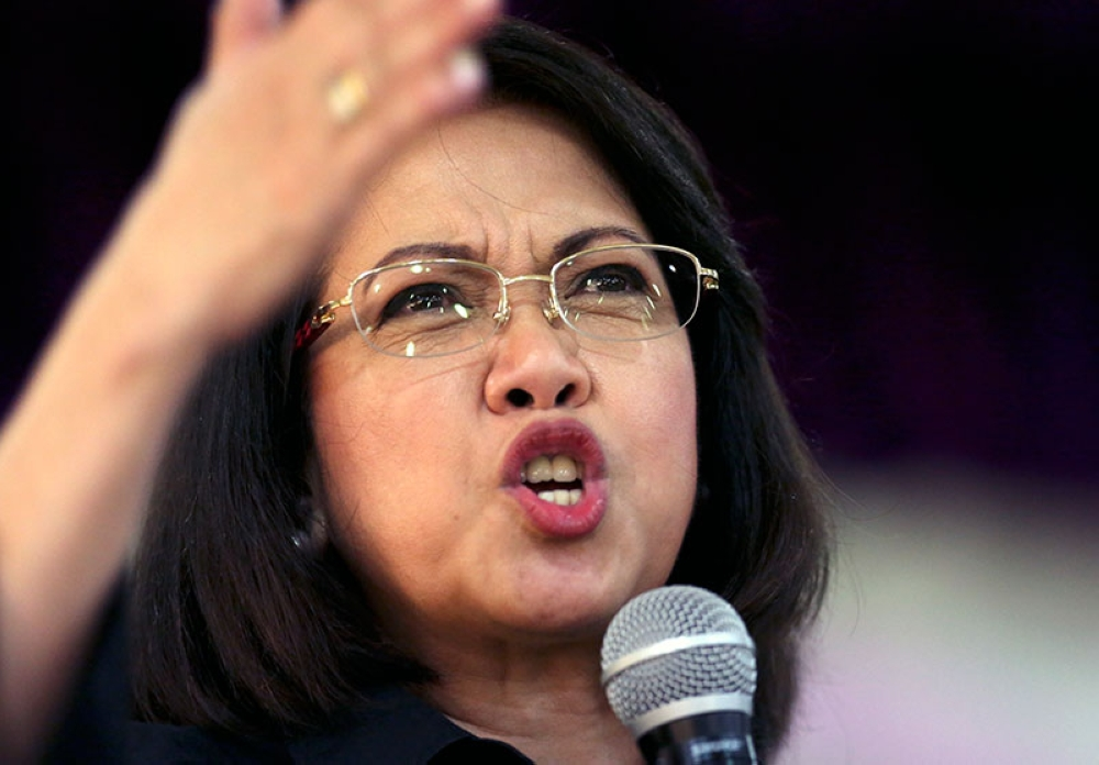 MANILA. Ousted Philippine Supreme Court Chief Justice Maria Lourdes Sereno gestures during a forum at the Integrated Bar of the Philippines in Pasig City on May 17, 2018. (AP)