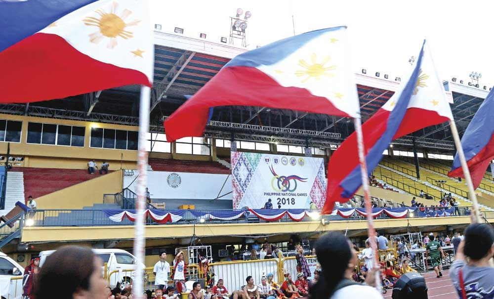 Precise March. Performers rehearse for today's opening in the Cebu City Sports Center of the Philippine National Games, with some 3,000 athletes set to compete. President Rodrigo Duterte will be the guest of honor.  (SunStar Photo/Alex Badayos)