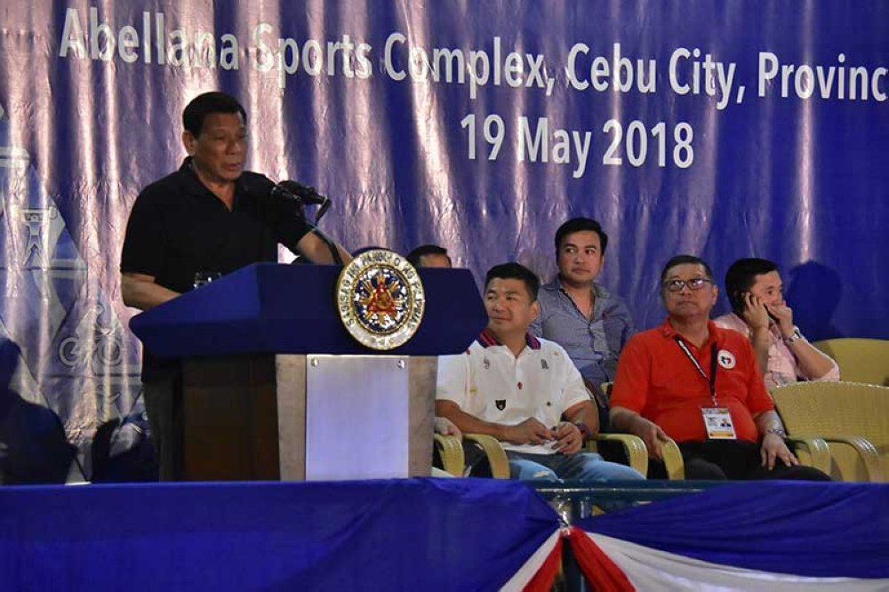 CEBU. President Rodrigo Duterte speaks during opening ceremony of the Philippine National Games (PNG) 2018 at the Cebu City Sports Center Saturday, May 19. (Macky Lim)