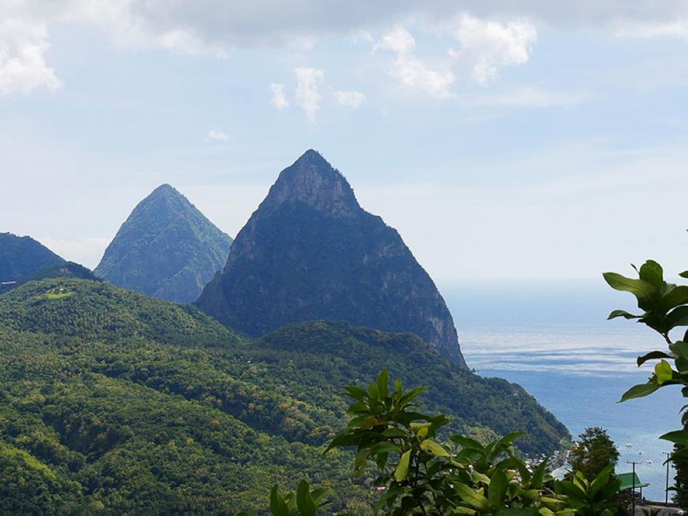 Saint Lucia's iconic Piton mountains. (Photo by Raquel Bagnol)