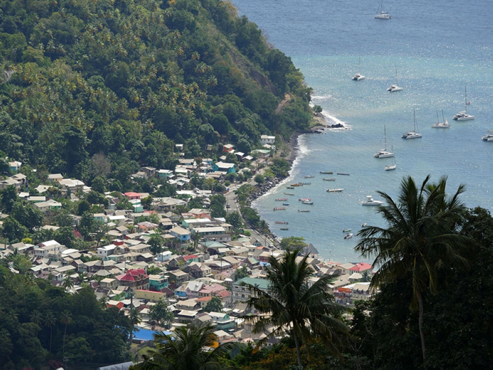 Soufriere town viewed from a mountaintop. (Photo by Raquel Bagnol)