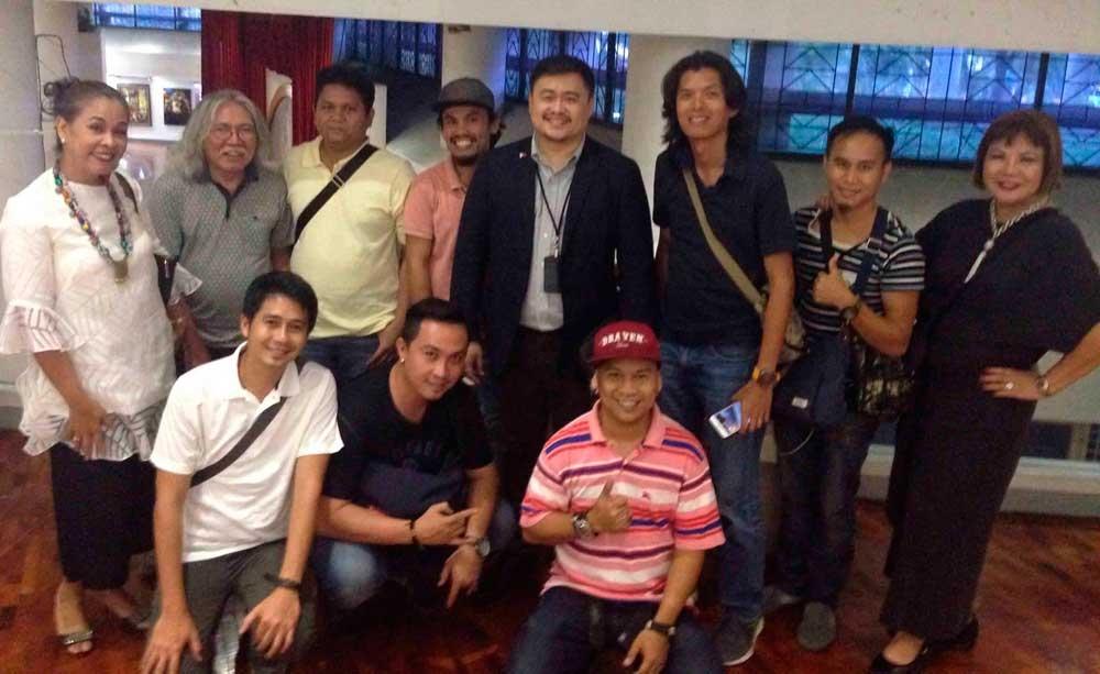 In photo are (standing from left) Manila-based artist Jinky Rayo, Master watercolorist Jose Kimsoy Yap Jr., Ryan Roy Barral, Jess Diglasa, Mercado, Eduardo Solana Jr., Bryan Hulgasan, Brenda Tenk, (seated, from left) Melver Mercado, Darby Alcoseba, and Govinda Marquesto.