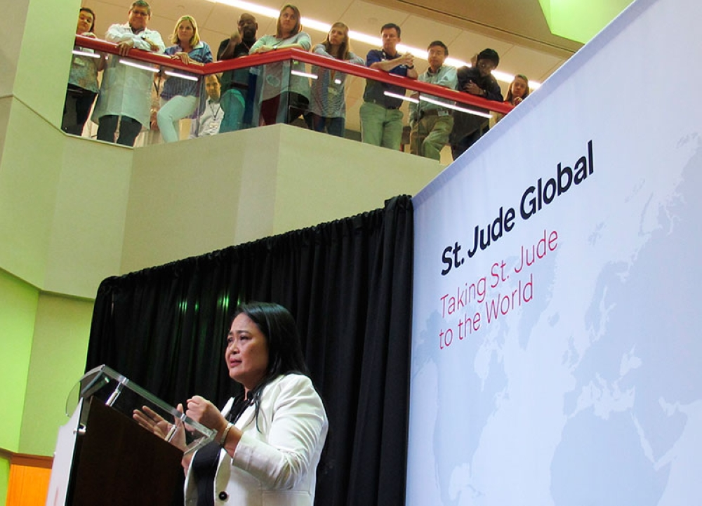 USA. Dr. Mae Dolendo, of the Philippines, talks about the expansion of a global outreach program at St. Jude Children's Research Hospital on Thursday, May 24, 2018, in Memphis, Tennessee. (AP)