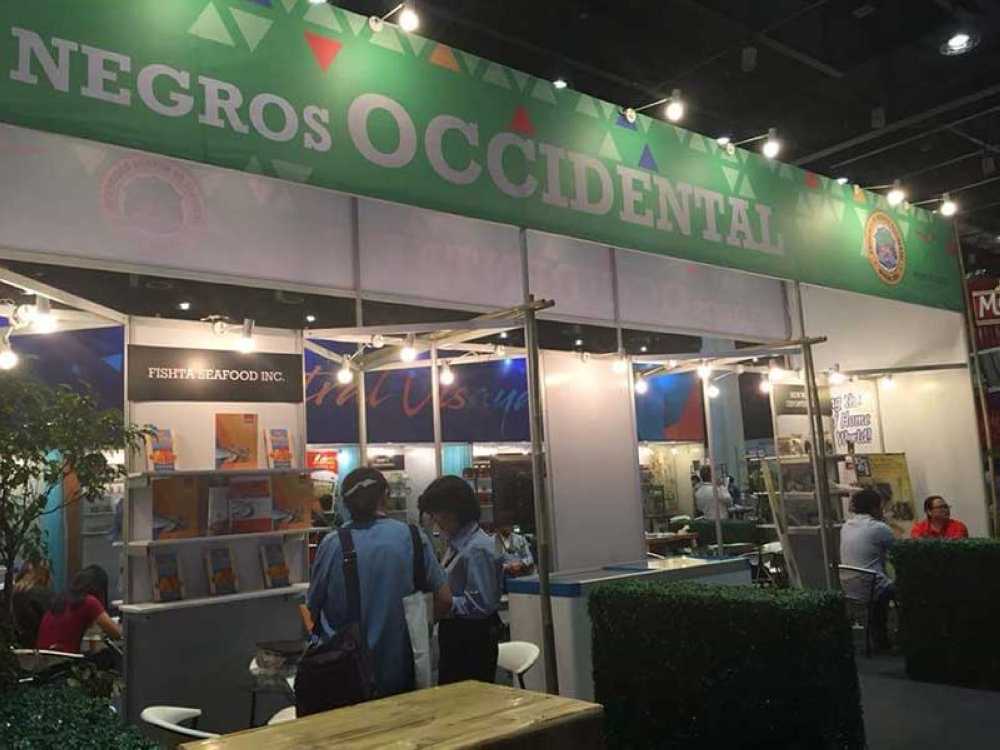 The Negros Occidental booth showcasing premium seafood and non-seafood commodities during the three-day International Food Exposition (Ifex) Philippines 2018 at the World Trade Center in Pasay City until yesterday, Sunday, May 27.(Lea Gonzales Photo)