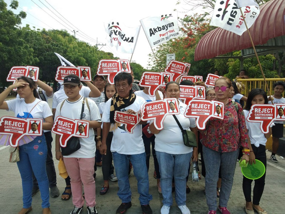 MANILA. Members of Akbayan troop to the Commission on Appointments on May 29, 2018 to call for the rejection of John Castriciones' appointment as DAR secretary. (Contributed photo)