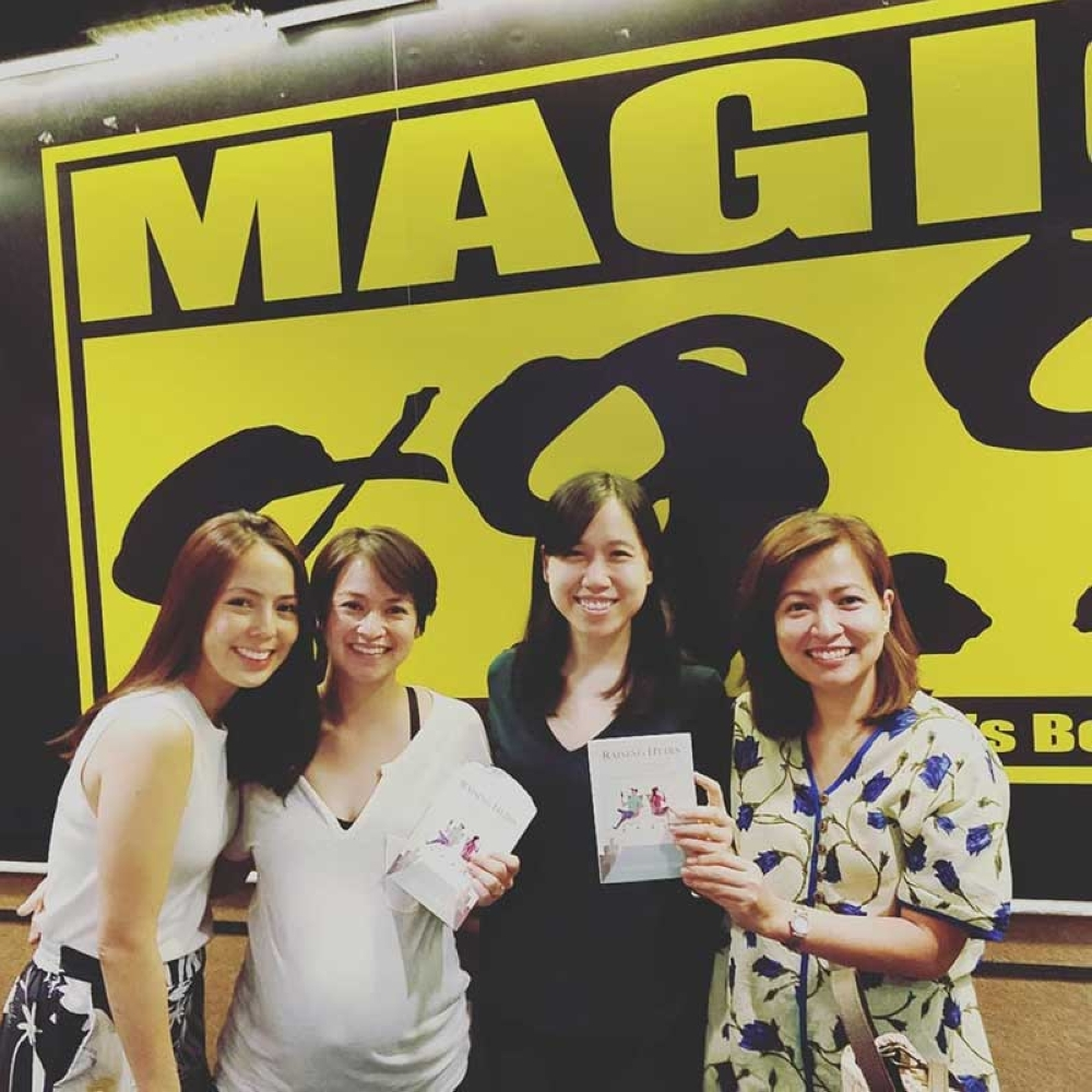 "DAVAO. Eleanore promotes her book on Magic 89.9's ""The Mother Show"" with hosts Andi Manzano-Reyes, Riki Flores-Reyes and Delamar Arias"