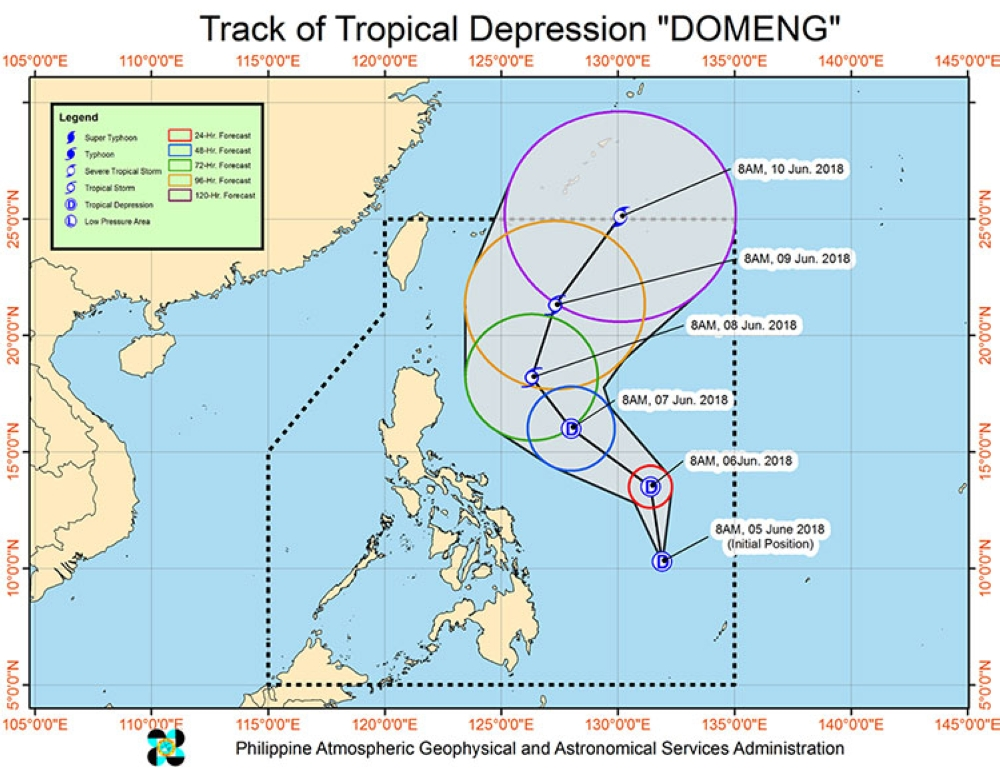 Track of Tropical Depression Domeng (Source: Pagasa)