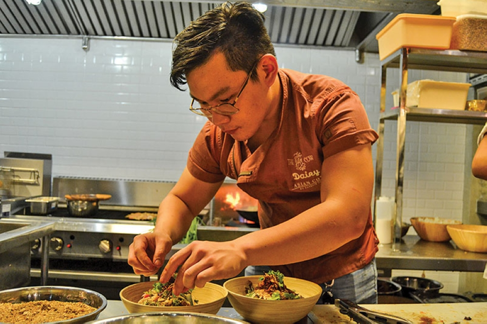DAVAO. Chef Patrick Co preparing the dishes for tasting. (Reuel John F. Lumawag)