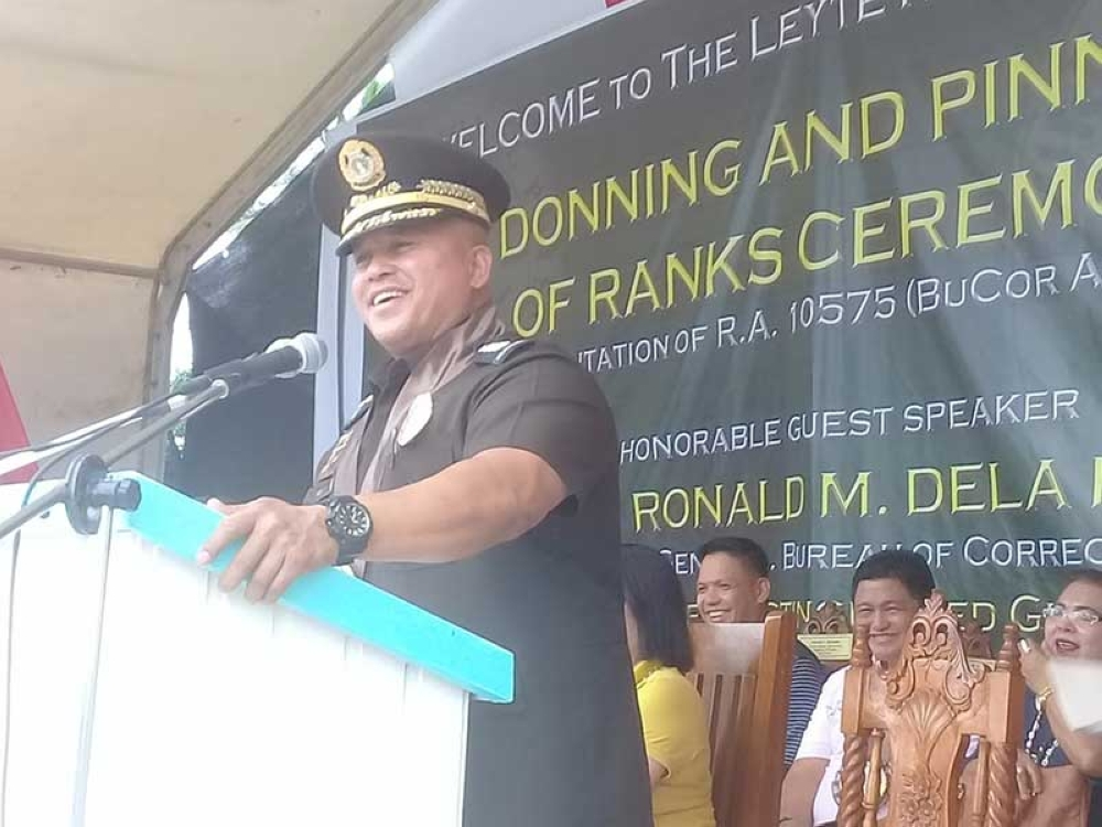 LEYTE. Bureau of Corrections Director General Ronald dela Rosa delivers a speech before the 131 newly promoted and reappointed corrections, corrections technical, and non-uniformed officers during their promotional ceremony at Leyte Regional Prison in Abuyog, Leyte, on June 8, 2018. (Ronald O. Reyes)