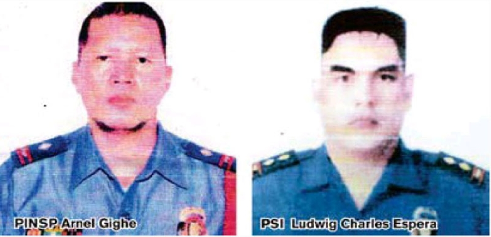 CAGAYAN DE ORO. Two of the four police officers tagged as suspects of a summary execution in this city PO1 Arnel Gighe and Police Senior Inspector Ludwig Charles Espira. (SunStar file photo)