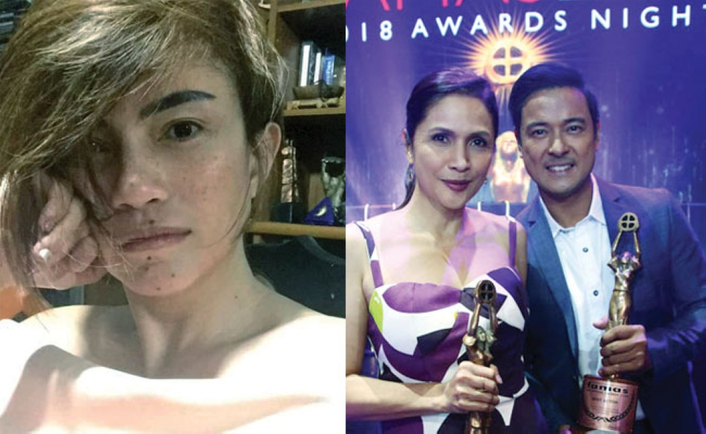 Agot Isidro and Allen Dizon winning acting trophies, and Cebuana Achinette Villamor. (Fotos /Pep & Contributed)