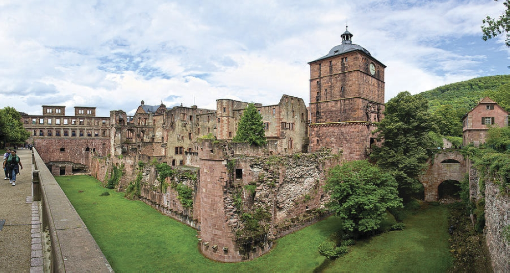 Heidelberg Castle ruins. The ruins of the majestic Renaissance-style castle destroyed during the war in the late 17th century.