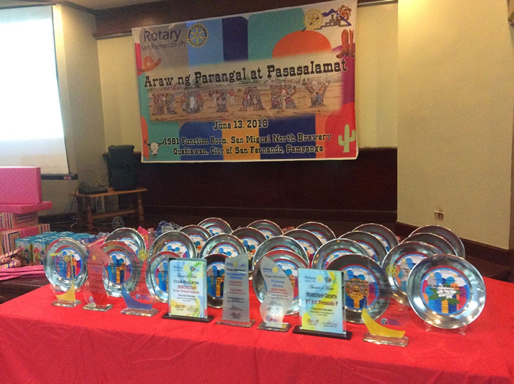 PAMPANGA. An array of awards and plaques of recognition for RCSF partners and members. (Contributed Photo)