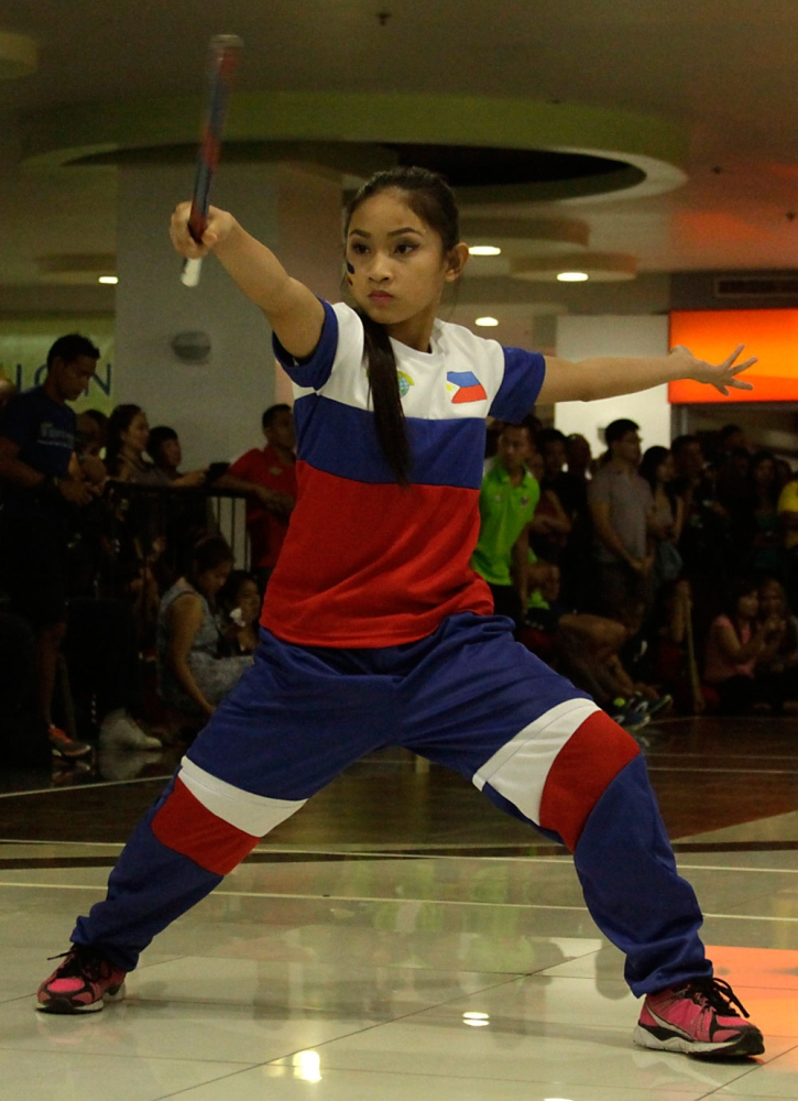 For the win. In this 2016 photo, Trixie Mary Lofranco leads the Philippine team in the 14th World Eskrima Kali Arnis Federation World Championship. (SunStar File)