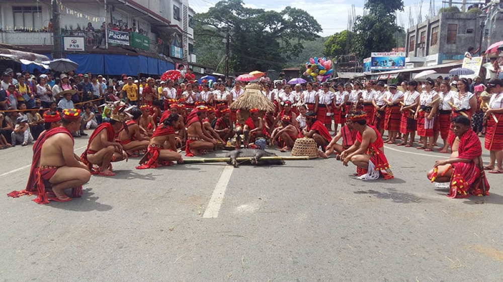 """BAGUIO. Contingents from the 11 municipalities of the province give the audience a glimpse of culture through performances themed """"Shaping the Ifugao heritage in a global environment,"""" during the 52nd foundation day celebration and Gotad ad Ifugao. (Photo by Maria Elena Catajan)"""