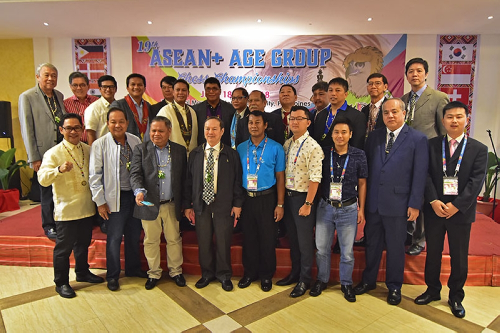 DAVAO. Special guests pose for a photo after the opening ceremonies of the 19th Asean  Age Group Chess Championships at 9th floor Lantawan Hall of The Royal Mandaya Hotel. (Macky Lim)