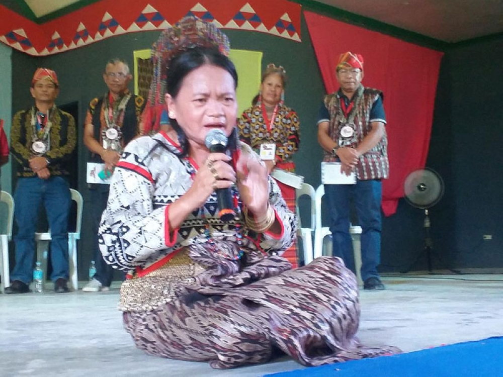 SOUTH COTABATO. World-class T'boli singer-composer Rosie Sula sings an original praise song she composed for the 2nd Indigenous Peoples Games opening program at the Lake Sebu Municipal Gym in South Cotabato. (Marianne L. Saberon-Abalayan)