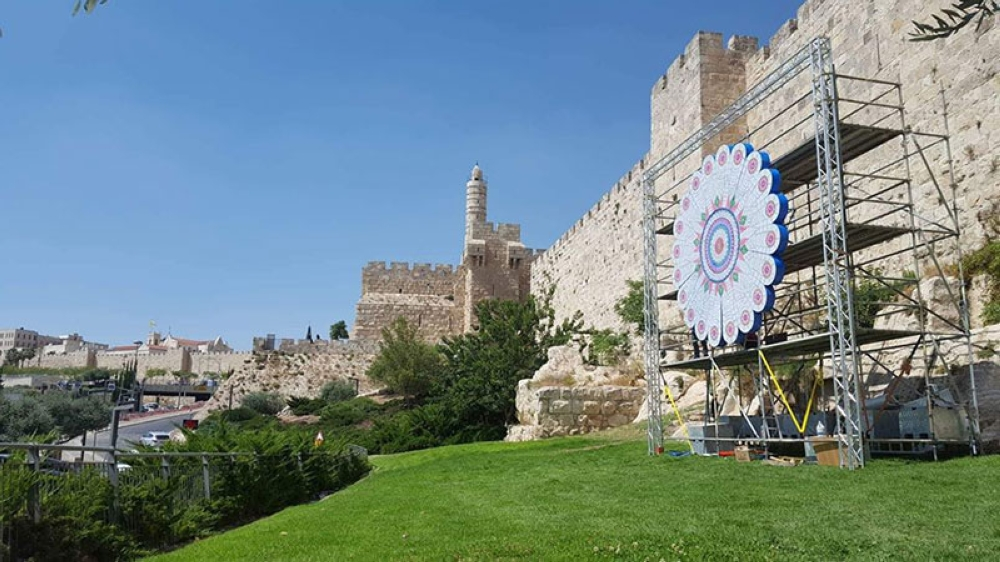 PAMPANGA. The San Fernando lantern is all set to light up the Jerusalem sky. Behind it are the old structures of the old city of Jerusalem. (Contributed Photo)
