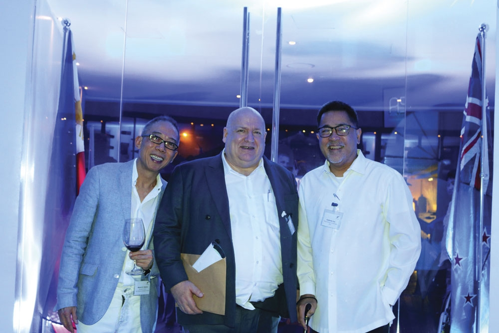 New Zealand Consul. At the dinner party for the inauguration of New Zealand Honorary Consul in Cebu Manny Osmeña (left) shown here with New Zealand Ambassador to the Philippines David Strachan and Guillermo Luz, private sector co-chairman of National Competitiveness Council.