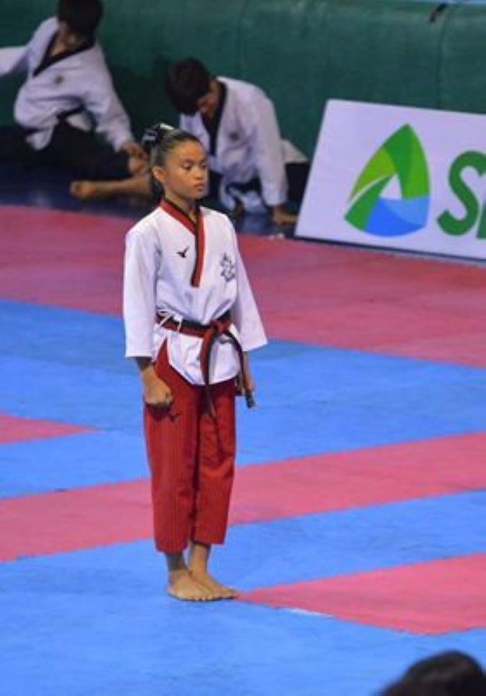 Jamie Hannah Canja Agaloos of Bacolod City brought home two gold medals from Philippine National Poomsae Taekwondo held in Manila (Contributed Photo)