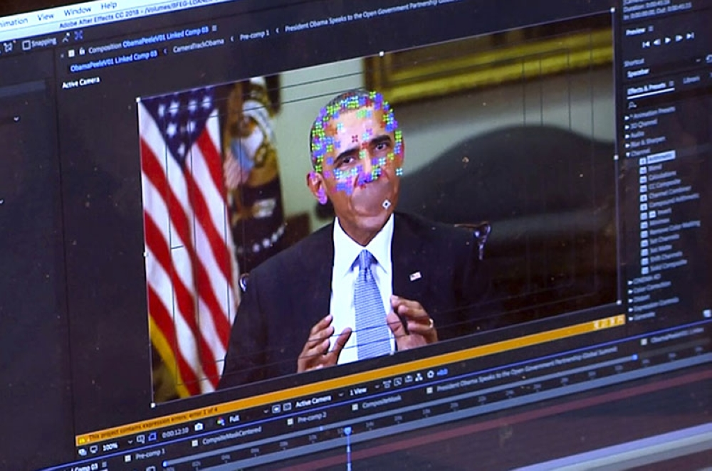 US. This image made from video of a fake video featuring former President Barack Obama shows elements of facial mapping used in new technology that lets anyone make videos of real people appearing to say things they've never said. There is rising concern that US adversaries will use new technology to make authentic-looking videos to influence political campaigns or jeopardize national security. (AP)