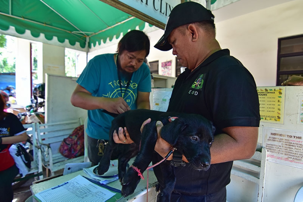 RABIES SHOT. A member of the Davao City Police Office Explosive and Ordnance Disposal holds his three-month old Labrador puppy as it received anti-rabies vaccine on Monday morning, July 2, at the City Veterinarians Office in Davao City. (Macky Lim)